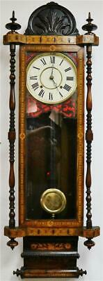Stunning Antique Carved Tunbridge Ware 8 Day Bell Striking Regulator Wall Clock
