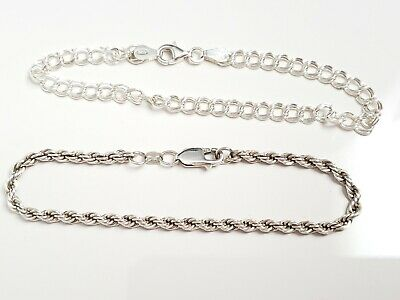 Lot of Vintage Sterling Silver Bracelets, Twisted Rope, Charm Chain, Jewelry
