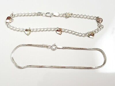 Lot of Vintage Sterling Silver Bracelets, Heart Charm, Braided Rope, Jewelry
