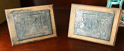Pair of Antique Sterling Silver French Engraved Plaques