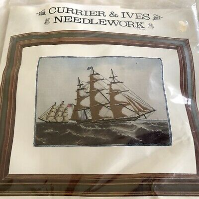 Vtg Currier and Ives Needlework Clipper Ship Crewel Embroidery Kit 1976 Nos