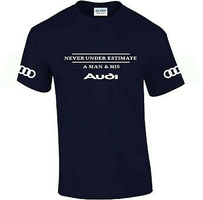 Audi funny T-shirt ..Car Enthusiast top..with arm logos novelty gift birthdays