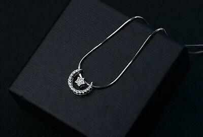Pave Cubic Zirconia 925 Sterling Silver Moon & Star 2-Way Style Pendant Necklace