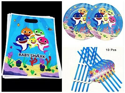 Baby Shark Party Pack 10 Straws 10 Plates 10 Party Bags