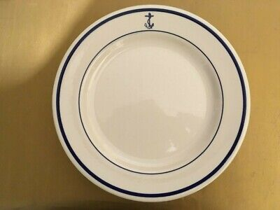 Two Wellsville Sterling China Fouled Anchor Navy Dinner Plates