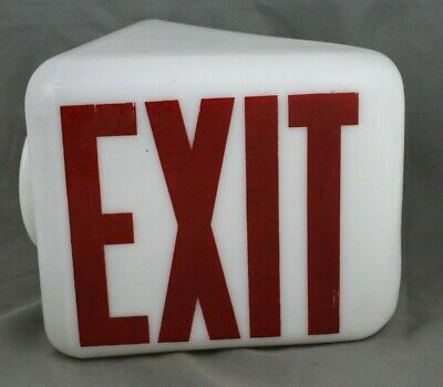 Rare Antique Art Deco Vintage Double Sided Triangular Glass Exit Sign Nos!