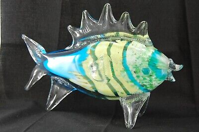 Ylw & Blue Stripe Tropical Fish, Large Art Glass Murano Blown Figurine 10.5 Inch