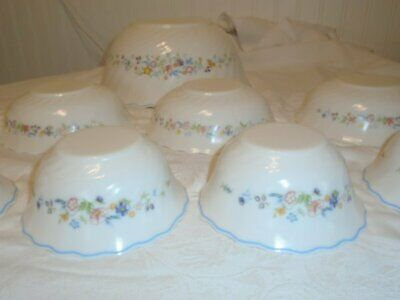 10 Pce Lot Arcopal France Victoria Floral Mixing/Serving Berry Cereal Bowls EUC
