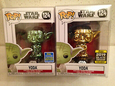 Funko Pop Star Wars Yoda Green & Gold Chrome 2019 Sdcc & Galactic Lot Protectors