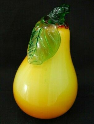 Pear Yellow Orange Fruit w/Leaf, Large Murano Bubble Art Glass Blown Paperweight