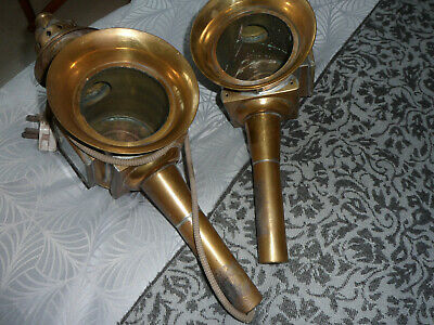Pair of Brass Carriage Lamps, Veteran Cars, 1 converted to Electricity.