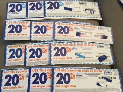 12 Bed Bath and Beyond 20% OFF one single item Coupons in store use only LOT2