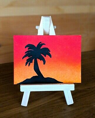 ORIGINAL Acrylic PAINTING ACEO ATC MINIATURE Tropical Sunset Island  UK Artist