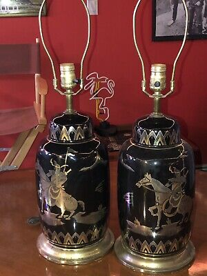 Lot of Two Vintage Lamps Asian Inspired Gold Painted Japanese Chinese Warrior