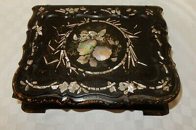 Victorian Black Lacquer Papier Mache Writing Slope Mother of Pearl Inlay    c869