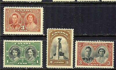 1939 #246 1¢ #247 2¢ #248 3¢ King George Vi Royal Visit Issue Set + #237 3¢ Nh