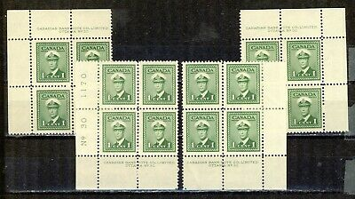 1942 #249 1¢ King George Vi War Issue Ms Plate Block #30 F-Vfnh