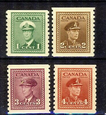 1948 #278-81(Perf. 9 ½) 1¢-4¢ King George Vi War Issue Coil F-Vfnh Complete Set