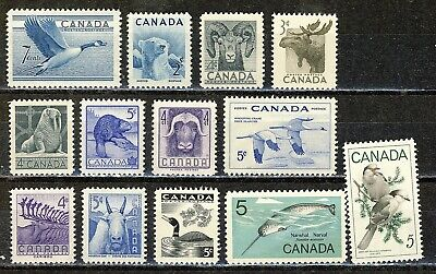 1952/1968 #320/480 Kg Vi & Qe Ii Thirteen(13)  Wildlife Commemoratives  F-Vfnh