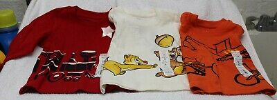 (3)BOYS SZ 12 MONTHS LS TEES-ORANGE,WHITE,RED COLORS by JUMPING BEANS-NWT'S