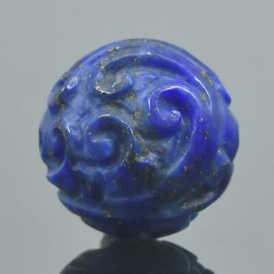 Carved Natural Blue Lapis Lazuli Round 12.53 mm Bead Carving 2.86 g Handmade