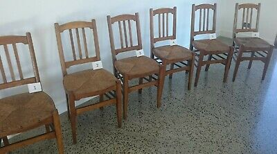 Set of six antique-style reproduction ladder backed beech rush seated chairs