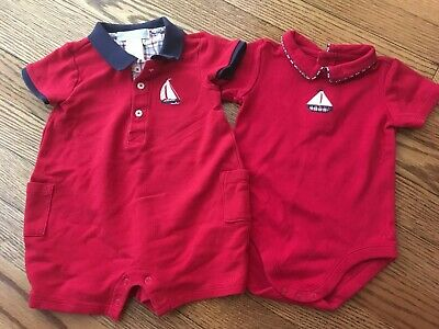 (2) Baby Boy's JANIE & JACK Red Sailboat One-Pieces - Size 3-6 Months