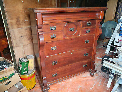 Antique Tallboy, Mahogany Timber Chest of 8 Drawers,