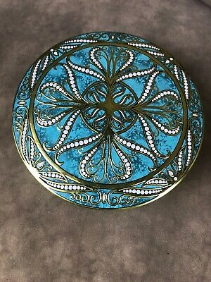 Daher Tin Box Round Teal and Gold Stamped Metal Vintage England