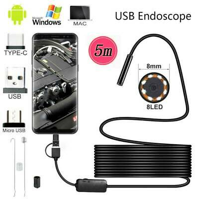 6 LED USB Endoscope Borescope Inspection Camera for Samsung Android TYPE-C MAC