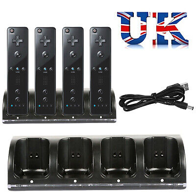 For Nintendo WII Remote 4 Pack Rechargeable Battery + Four Dock Charging Station
