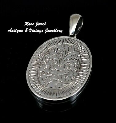 Antique Jewellery Victorian Silver Locket Beautiful Floral Engraving Large Size