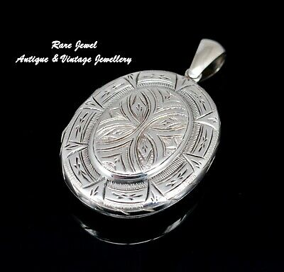 Antique Jewellery Victorian Silver Locket Fabulous Engraving Large Size