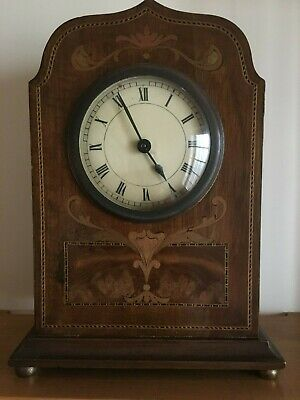 Victorian Early Edwardian Inlaid Mahogany Mantle Clock [calder ref B20]