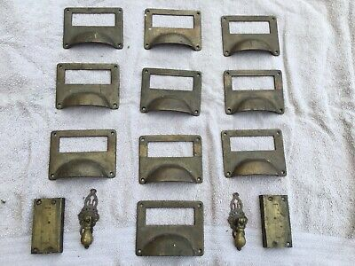 Solid Brass Victorian Cupboard Filing Cabinet Card Label Holder Cup Pull Handles