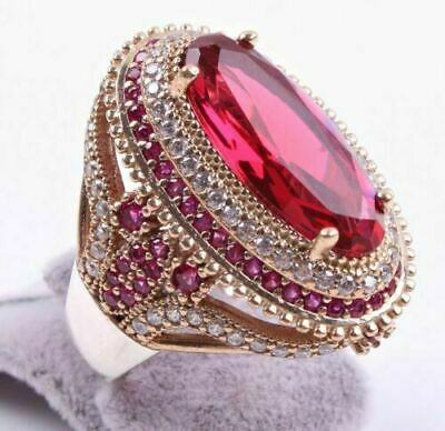 Turkish 18K Yellow Gold Filled Red Ruby White Topaz Ring Women Wedding Jewelry