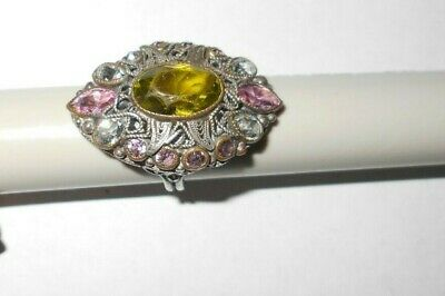 Old Vintage Filigree Ring With Large Green Stone,10 Violet Pink Stones & 4 Clear