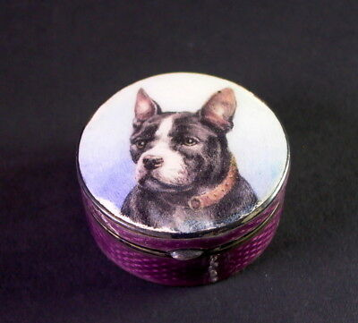 tolle Silber Emaille Dose - Bulldogge / Terrier