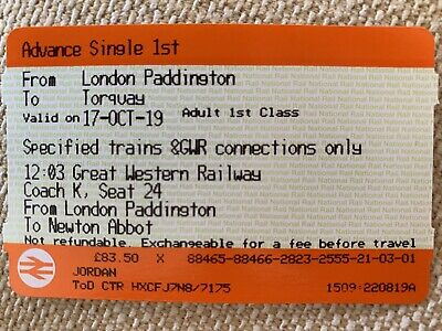 unused train ticket. 1st Class ticket London Paddington-Torquay on 17th October
