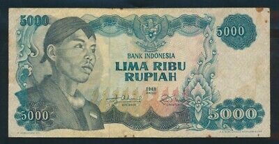 "Indonesia: 1968 5000 Rupiah ""SCARCE HIGH VALUE"". Pick 111a NVF"