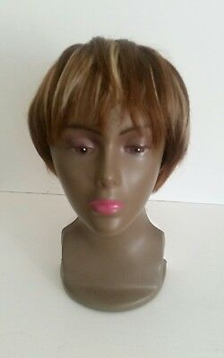 womens wig ladies short ombre hair ash blonde straight bob pixie fringed style