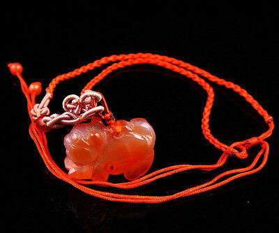 Top Quality Agate Hand Carved Treasure Piggy Pendant Necklace w/ Beads #12281503