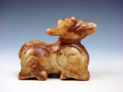 Old Nephrite Jade Stone Carved Sculpture Seated Ancient Monster Deer #08241905