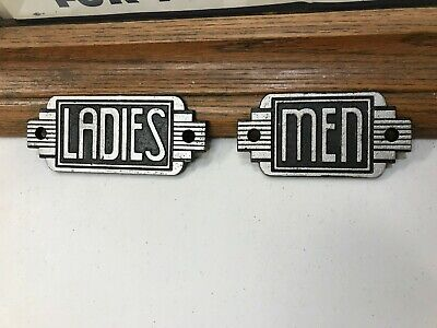 """""""LADIES & MEN'S"""" VINTAGE 1920's ART DECO STYLE CAST IRON SIGNS, HARD TO FIND"""