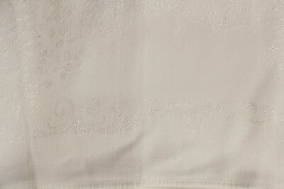 Vintage White Irish Linen Damask Table Cloth with Oblong 55 X 82