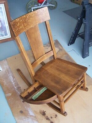 1900's mission style oak phoenix chair co. sewing rocking chair / sewing drawer