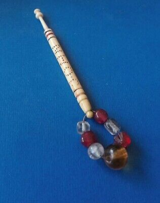 "Victorian Bovine Bone Lace Bobbin. Has ""John & Stripes"". Original Spangles."