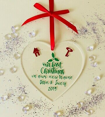 Personalised Christmas Tree Decoration First Christmas in Our New Home -