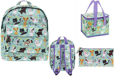 CATS & DOGS PUPPIES Lunch bag, Backpack, Pencil case - Toddlers Kids School SET