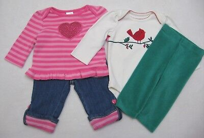 GYMBOREE COZY CABIN RED w// Be Happy /& Bright BODYSUIT 0 3 6 NWT